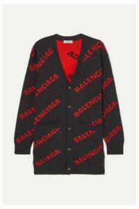 Balenciaga - Intarsia Wool-blend Cardigan - Navy
