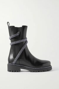 Balenciaga - Cropped Intarsia Wool-blend Sweater - Navy