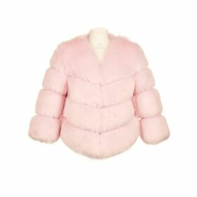 Popski London Faux Fur Kensington Jacket - Light Pink