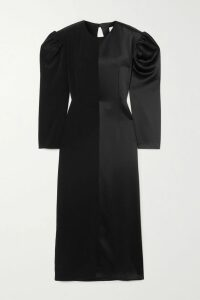 MATERIEL - Asymmetric Cutout Silk-satin Midi Dress - Fuchsia