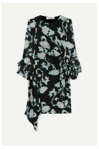 Diane von Furstenberg - Faridah Ruffled Floral-print Stretch-voile Mini Dress - Black