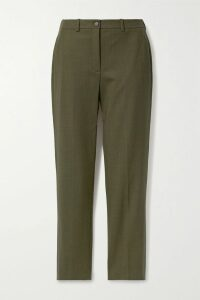 Adaptation - Cropped Embroidered Cotton-jersey Hoodie - Claret