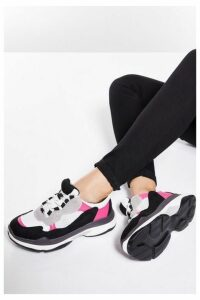 Quiz Pink And Black Chunky Trainers