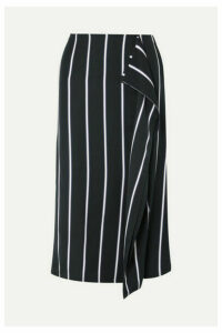 EQUIPMENT - Climmie Draped Striped Twill Midi Skirt - Black
