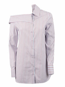 Victoria Beckham Striped Off Shoulder Shirt