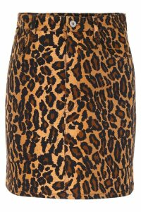 Miu Miu Leopard Denim Mini Skirt