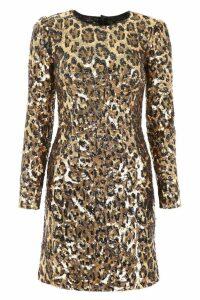 Dolce & Gabbana Leopard Print Sequins Dress