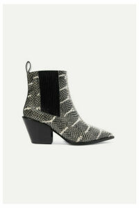 aeyde - Kate Snake-effect Leather Ankle Boots - Snake print