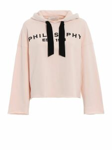 Philosophy di Lorenzo Serafini Velvet Detailed Powder Pink Boxy Hoodie
