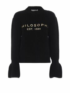 Philosophy di Lorenzo Serafini Gold-tone Logo Print Black Wool Sweater