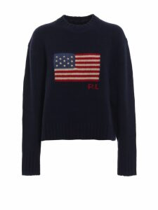 Polo Ralph Lauren American Flag Intarsia Wool Boxy Sweater
