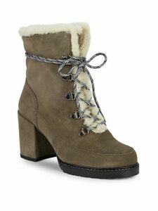 Yukon Dyed Shearling & Suede Block Heel Booties