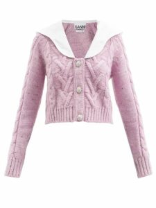 Allude - Striped Wool Blend Sweater - Womens - Navy Stripe