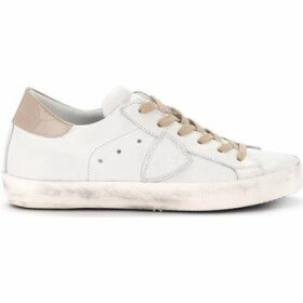 Philippe Model Paris  Paris white leather and pale pink patent leather sneaker  women's Shoes (Trainers) in White