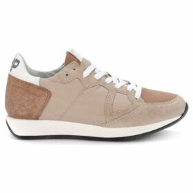 Philippe Model  Monaco Vintage nude pink suede and fabric sneaker  women's Shoes (Trainers) in Pink