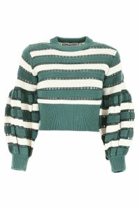 self-portrait Striped Crochet Pull