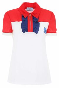 Prada Polo Shirt With Ruffles And Logo Patch