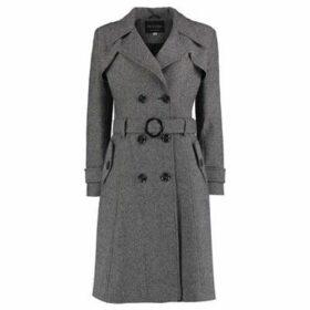 De La Creme  Tweed Winter Trench Coat  women's Trench Coat in Black