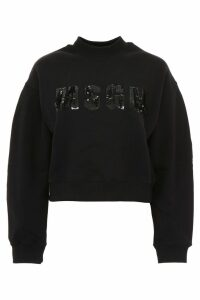 MSGM Cropped Sequins Logo Sweatshirt