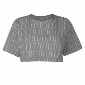 IL SARTO Lucia Crop T Shirt - Grey Marl/White