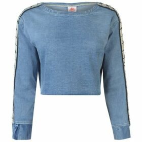 Kappa Bersy Denim Crop Top - Blue/Beige