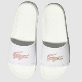 Lacoste White & Pink Croco Slide 119 3 Sandals