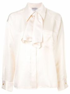 Chanel Pre-Owned oversized pussy bow blouse - NEUTRALS