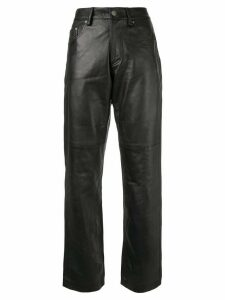 Versace Pre-Owned leather straight jeans - Black