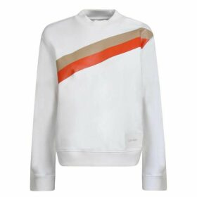 Calvin Klein Womenswear Stripe Crew Neck Sweatshirt