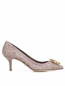 Dolce & Gabbana lace paneled pumps - PURPLE