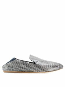 LANVIN snake skin embossed slippers - Blue