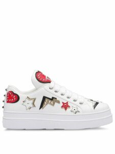 Prada hearts patch sneakers - White