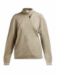 Lemaire - Scarf-neck Cotton-jersey Wrap Blouse - Womens - Light Brown