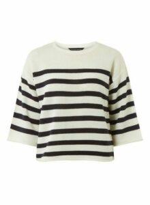 Womens Ivory Stripe Print Jumper- White, White