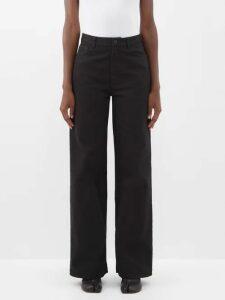 A.w.a.k.e. Mode - Button-through Sleeve Scoop-neck Top - Womens - Black