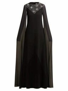 Givenchy - Crystal-embellished Wool And Silk-chiffon Gown - Womens - Black