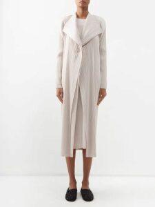 Carolina Herrera - Flocked Waterfall-panel Strapless Tulle Gown - Womens - Pink Multi