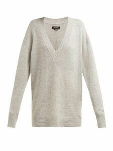Isabel Marant - Cadzi Oversized V Neck Cashmere Sweater - Womens - Light Grey