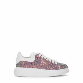 Alexander McQueen Larry Iridescent Glittered Leather Sneakers