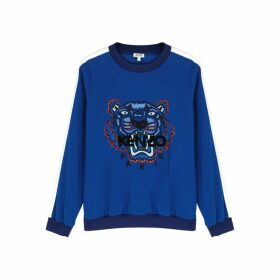 Kenzo Blue Tiger-embroidered Striped Sweatshirt