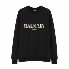 Balmain Black Logo-print Cotton Sweatshirt