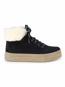 Faux Shearling-Lined & Suede Platform Sneakers