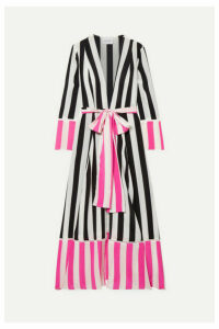 we are LEONE - Striped Silk Crepe De Chine Robe - Pink