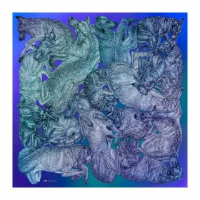 ARLETTE ESS - 'Sleeping Dogs' Large Silk Cotton Scarf In Blue Hues