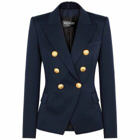 Balmain Navy Double-breasted Wool Blazer