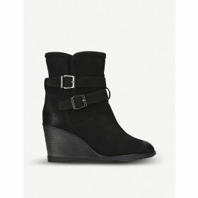 Rhona shearling-lined leather wedge boots