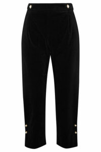 Mother of Pearl - Linnie Faux Pearl-embellished Velvet Tapered Pants - Black