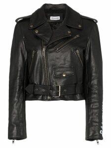 Balenciaga shrunken graffiti leather jacket - Black