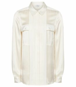 Reiss Indra - Silk Twin Pocket Blouse in Off White, Womens, Size 14