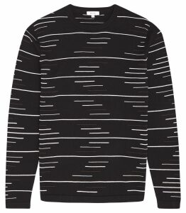 Reiss Oswald - Raised Broken Stripe Jumper in Navy, Mens, Size XXL